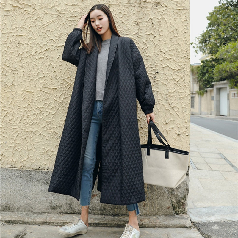 Black Oversize Lapel Back Vent Button Winter Jacket Long Cotton Coat