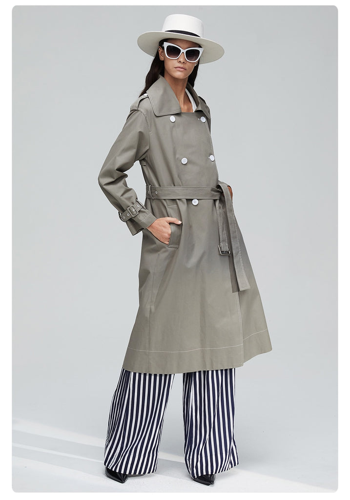 Dekorhea Ddouble Breasted Long Fashion Trench Coat