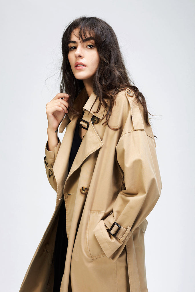 Dekorhea Double Breasted Vintage Casual trench coat oversize