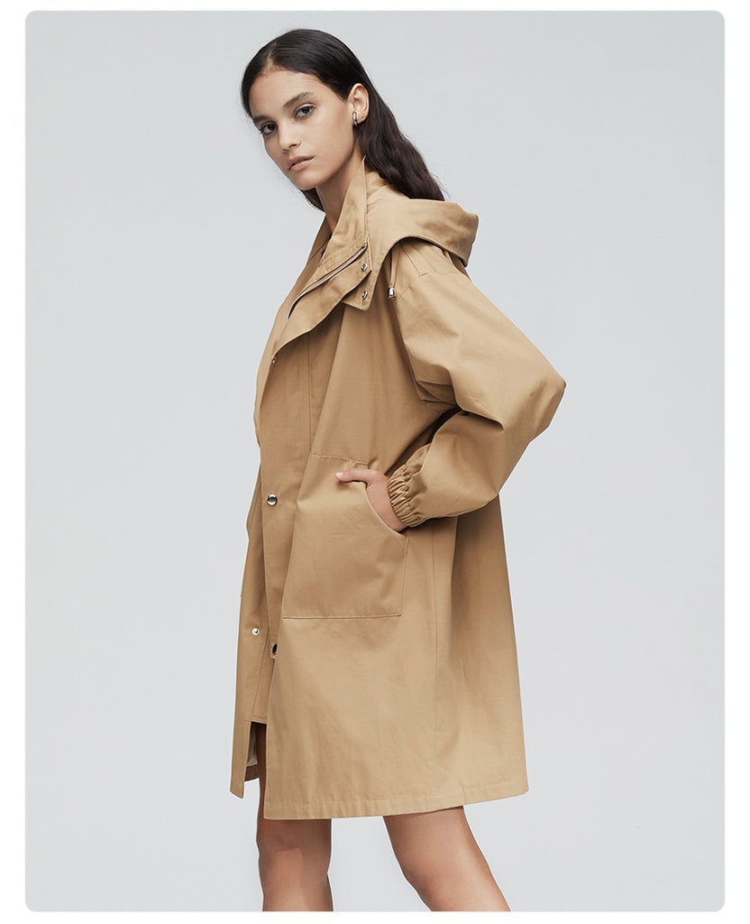 Dekorhea trench coat women Loose clothing outerwear with a hood