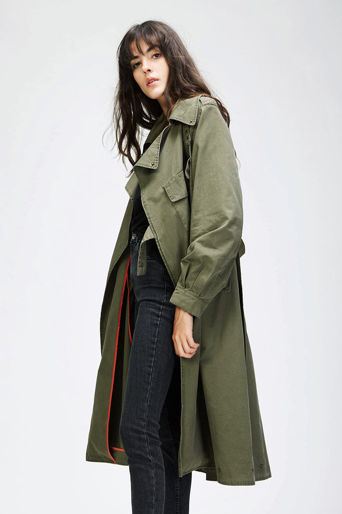 Dekorhea Women's Cotton Vintage Washed Military trench coat