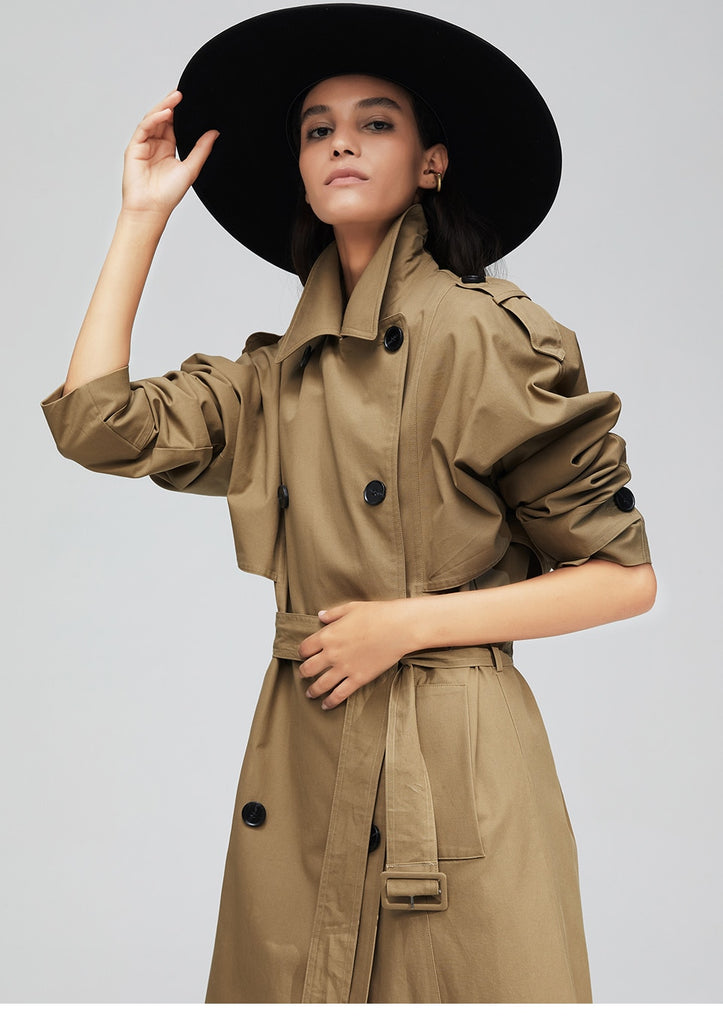Dekorhea New arrival women cotton washed double-breasted trench coat