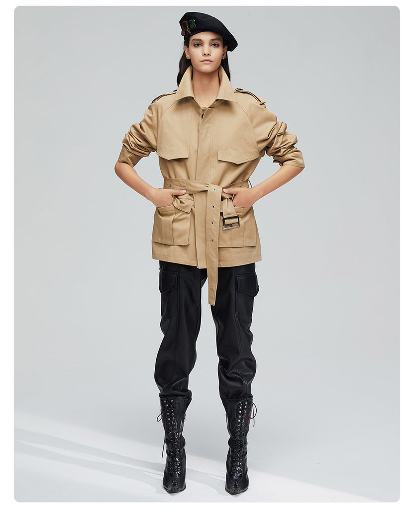 Dekorhea Double Breasted Short Fashion Trench Coat