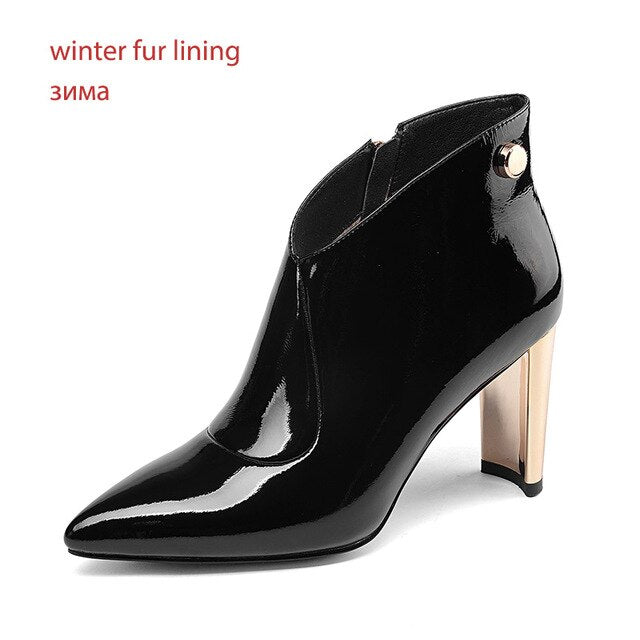 Women Patent Leather Ankle Boots Rivet Pointed Toe Footwear Fashion Party Female Boot