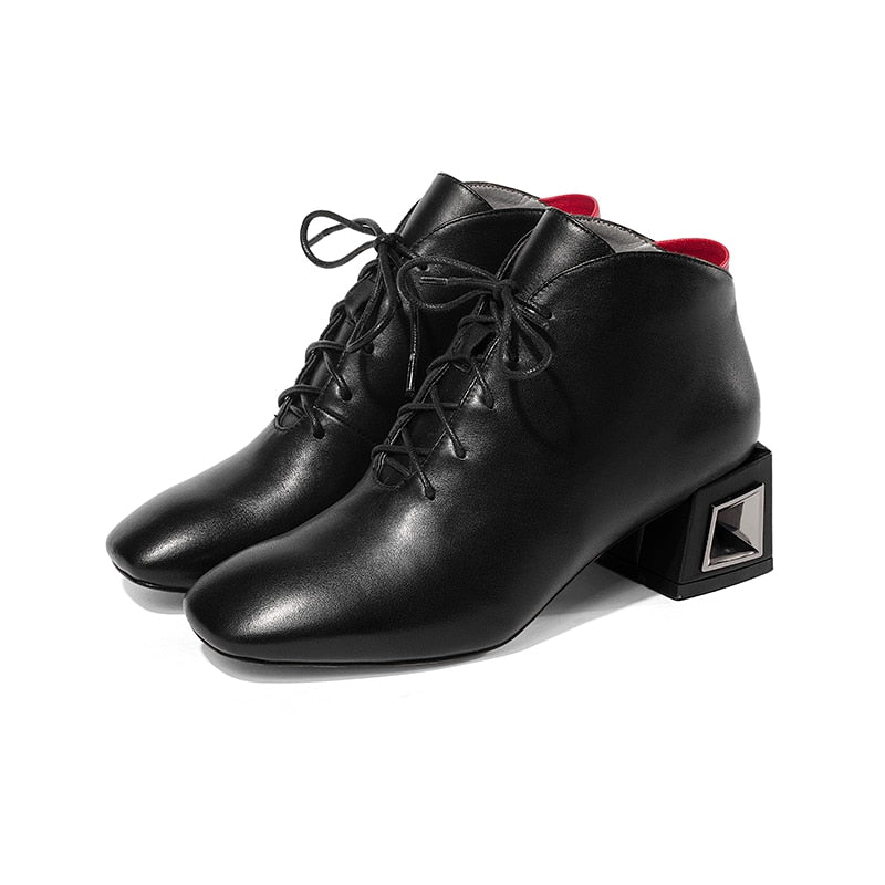 Women Cow Leather Ankle Boots Lace Up Square Toe Female Boot