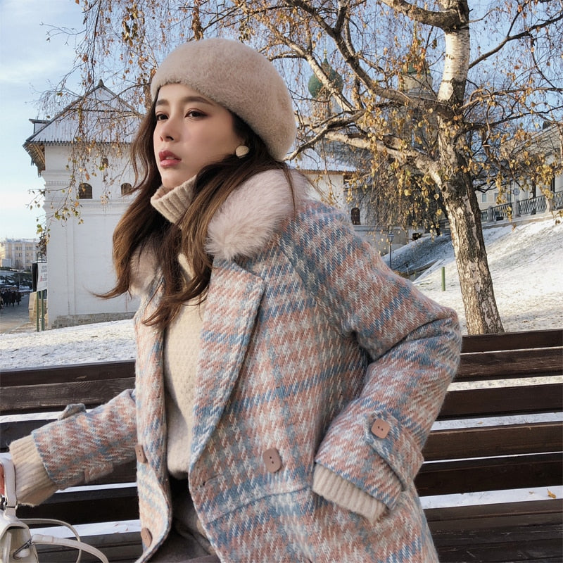 Dekorhea warm woolen blends female elegant Double Breasted woolen coat