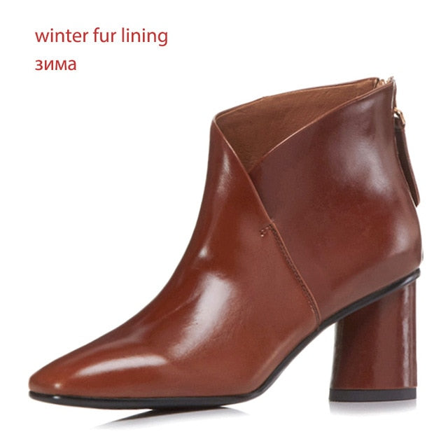 Women Genuine Leather Short Plush Thick High Heels Ankle Boots