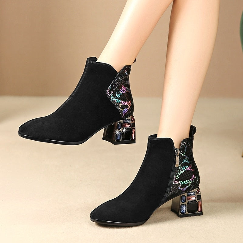 Women Crystal Heels High Boots Ankle Booties Square Toe Boots