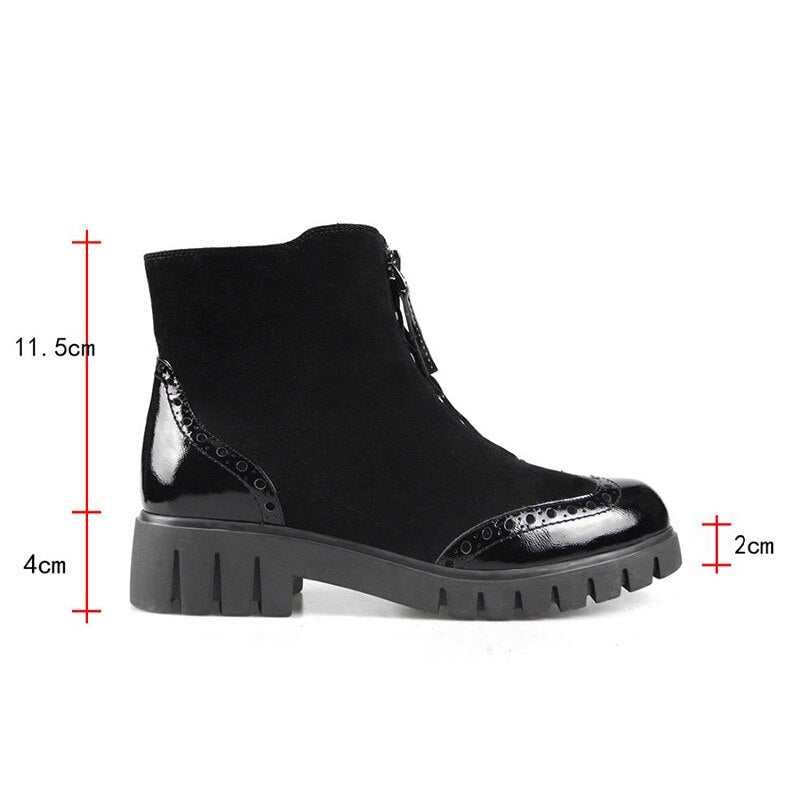 Cow Leather Women Ankle Boots Round Toe Footwear Warm Boot