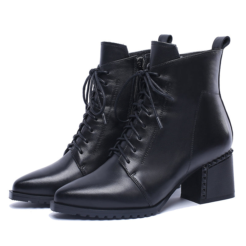 Women High Heels Ankle Boots Lace Up Boot