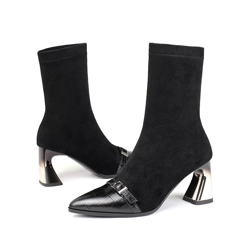 Women High Heels Emboss Cow Leather Ankle Boot