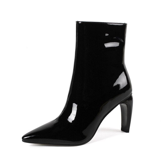 Dekorhea Patent Leather Women Ankle Boots Zip Pointed Toe Footwear Unusual High Heels Lady Boot Office Shoes Woman