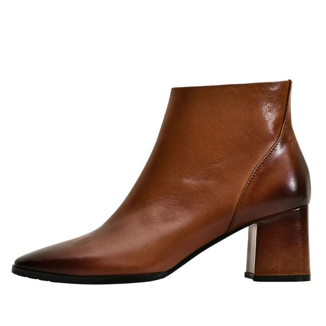 Dekorhea High Heels Thick Ankle Boots Women Genuine Leather Booties