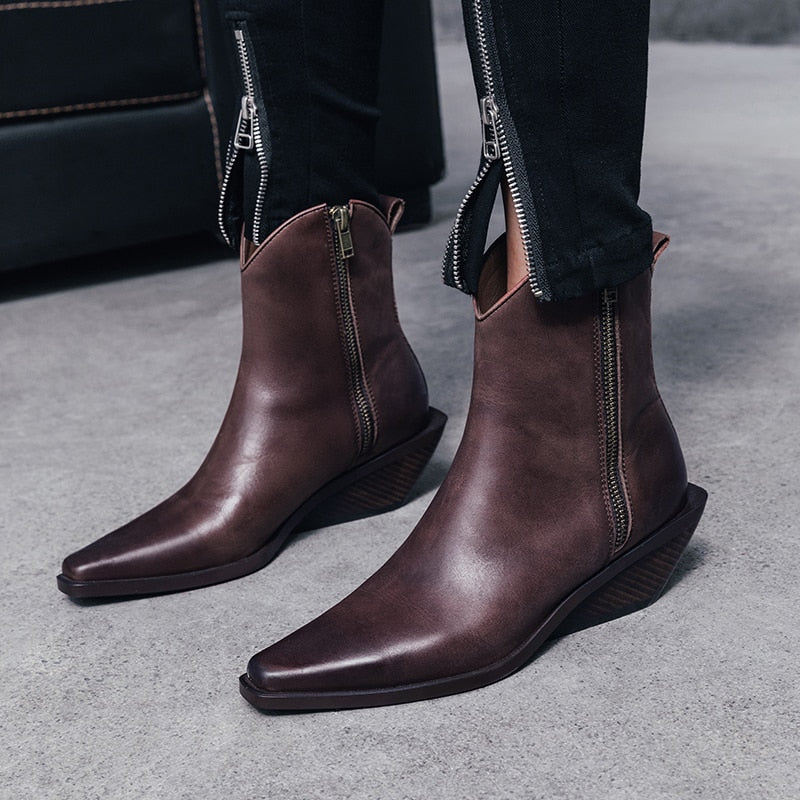Women Cow Leather Ankle Boots