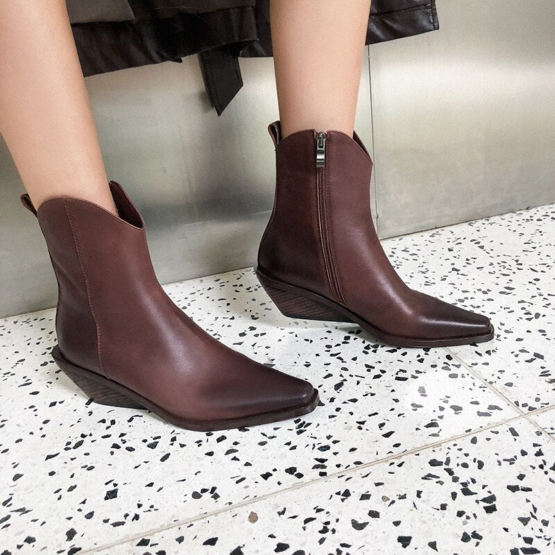 Women High Heels Wood Ankle Boots Leather Booties Fashion Square Toe boots