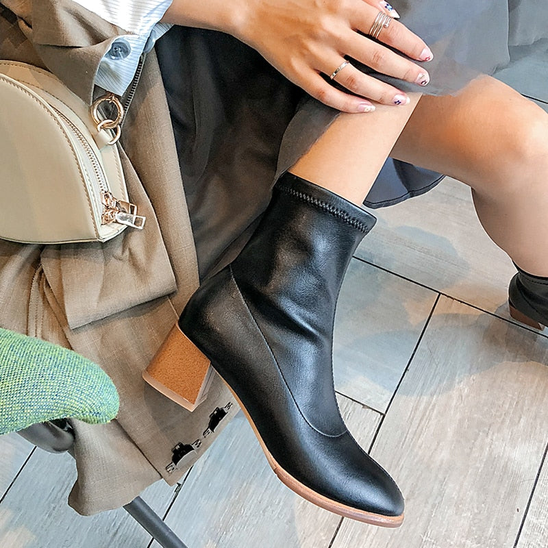Women Cow Leather Ankle Boots High Heels Sock Booties