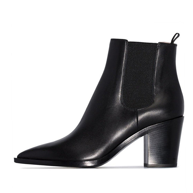 Women High Heels Ankle Boots Cow Leather Chelsea Boot