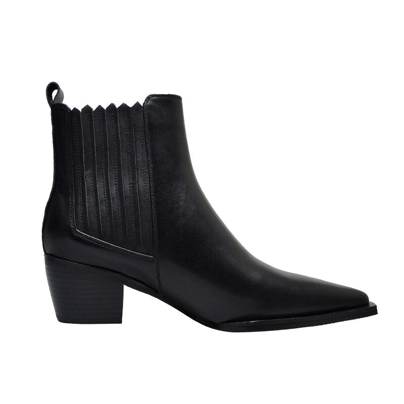 Women Cow Leather Chelsea Ankle Boots High Heels Booties