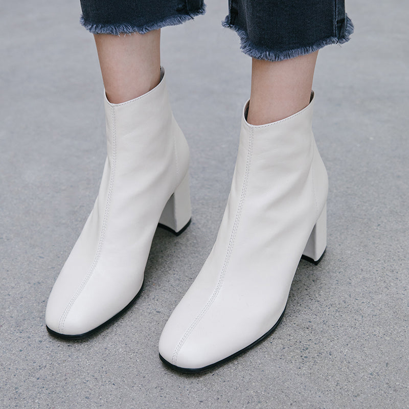 Women Cow Leather Ankle Boots Zip Booties