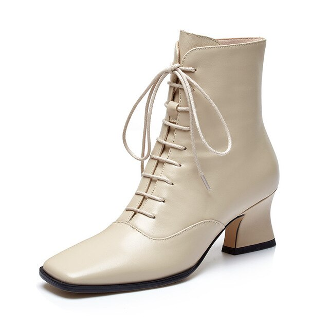 Women Cow Leather Ankle Boots Motorcycle Booties