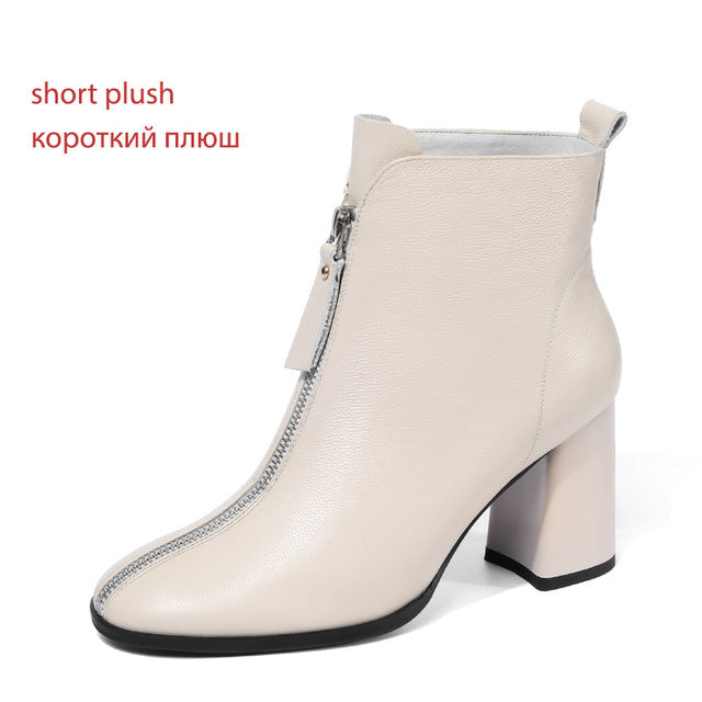 Women Cow Leather Boots Ankle Boots Square Toe Boots