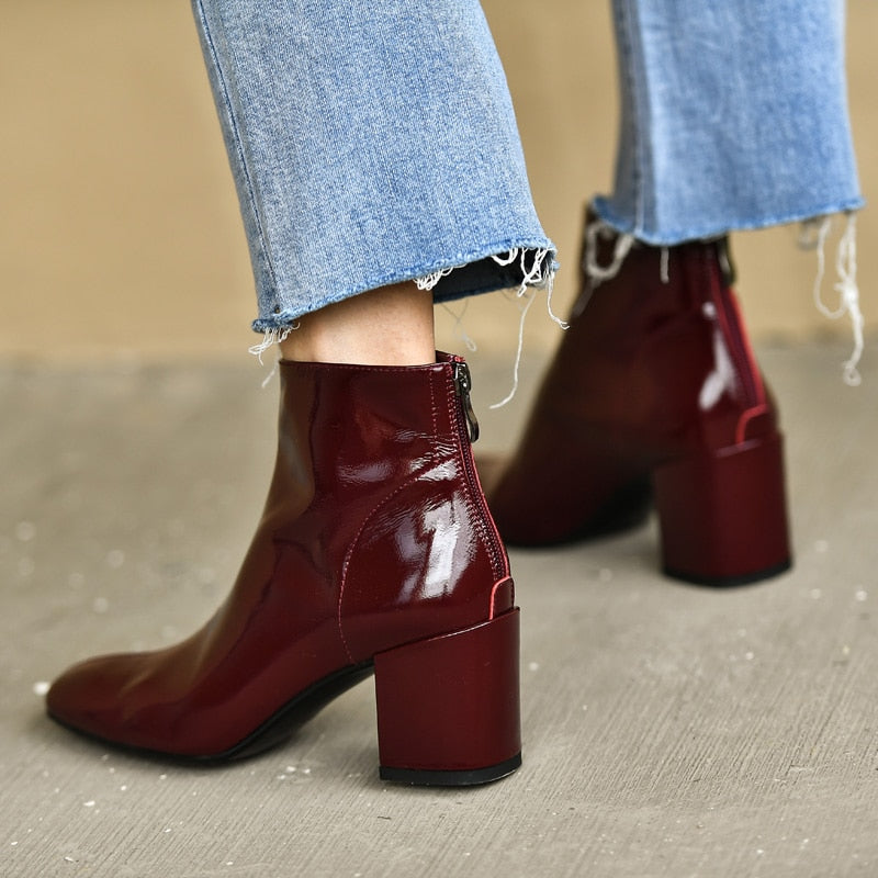 Women Patent Leather Ankle Boots Zip Square Toe Boots