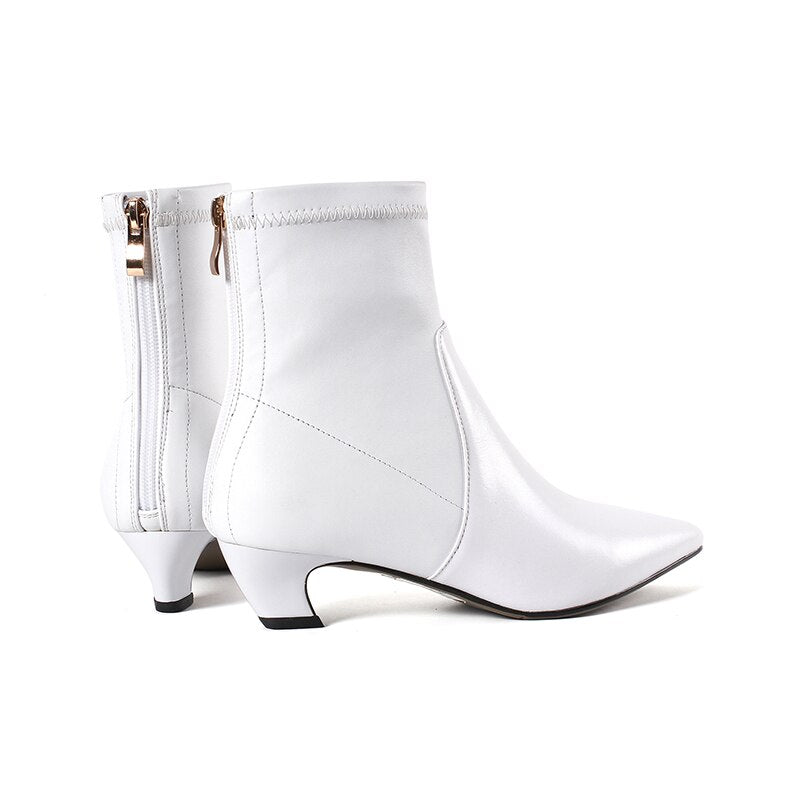 Women Autumn Stretch Boots Thick Heels Boot Pointed Toe Female Shoes Zipper Winter Warm Genuine Leather Footwear