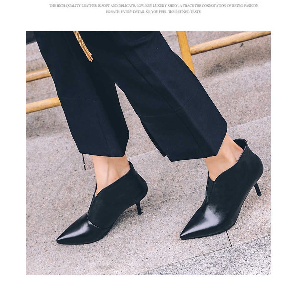 2019 Genuine Leather Ankle Boots Women Thin Heels Autumn Boot