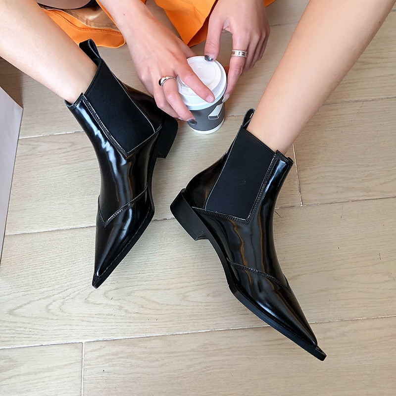 Women Cow Leather Ankle Boots Pointed Toe Chelsea Booties