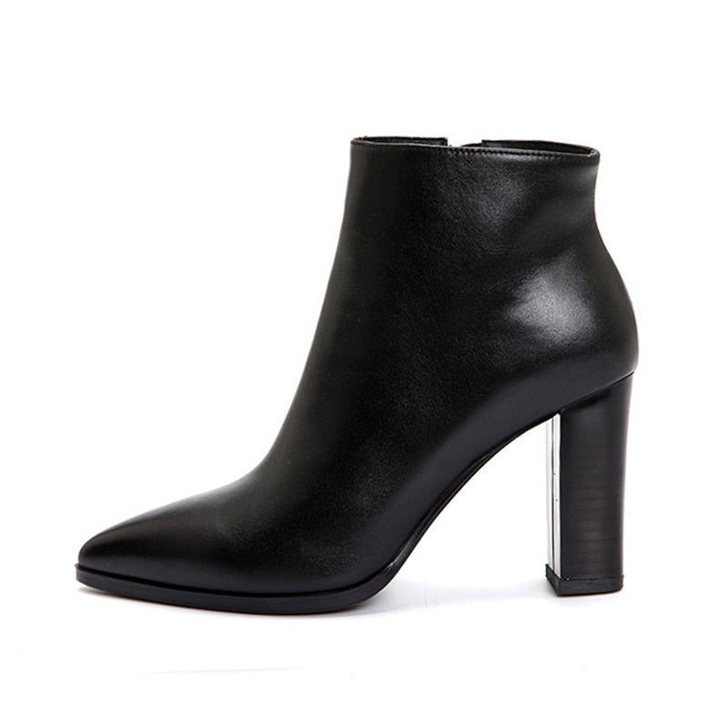 Spring Thick High Heels Boots Women Genuine Leather Bootie