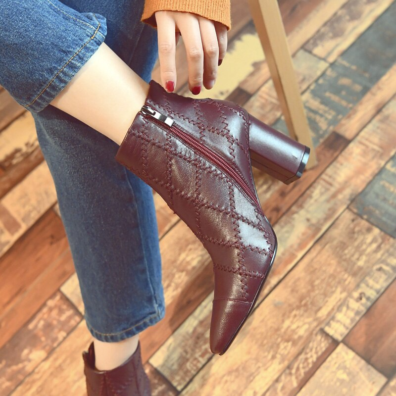 Women Genuine Leather High Heels Boots Zip Pointed Toe Print Footwear Party Female Ankle Boot