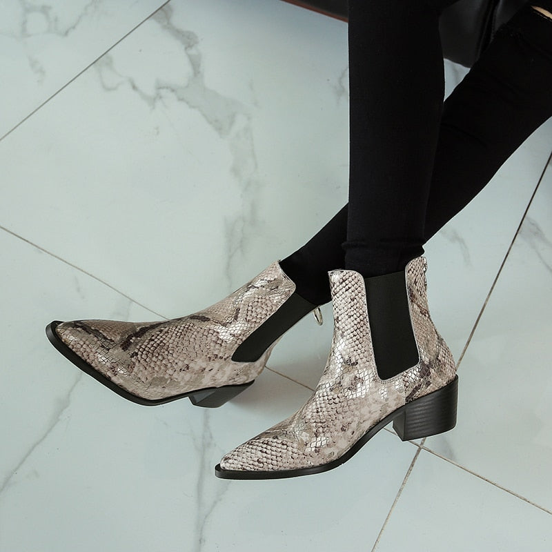 Women Snake Skin Leather Boots  Cow Leather Chelsea Boot