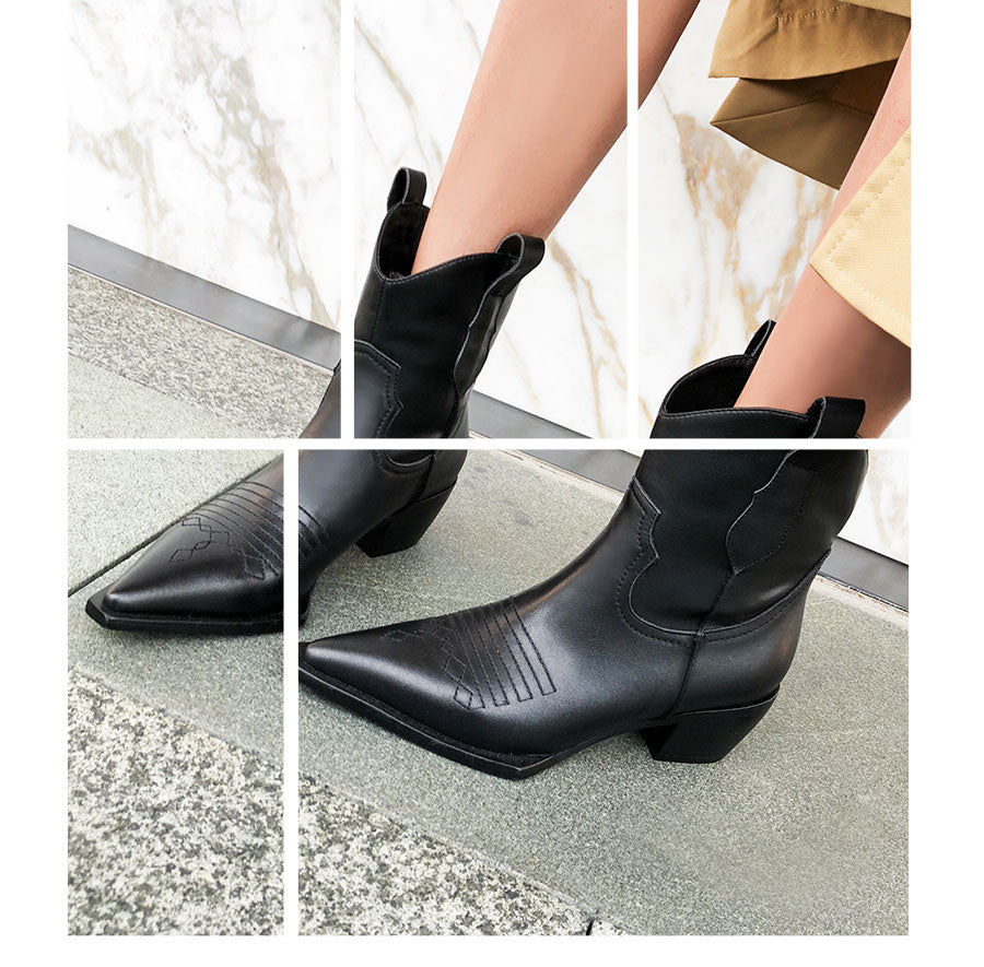 Dekorhea Western Ankle Boots Cowboy Women Leather Booties Fashion Pointed Toe Shoes