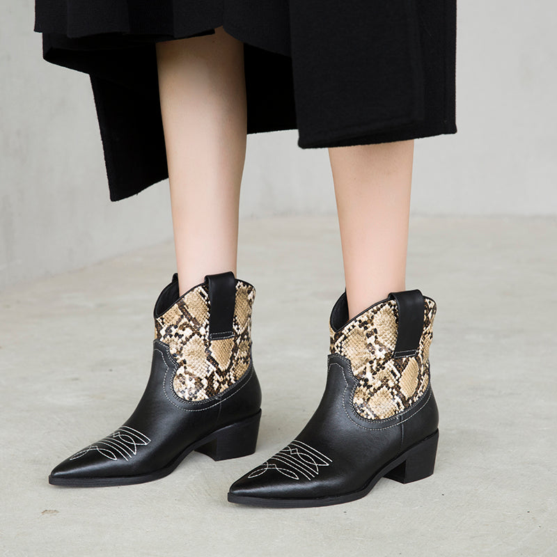 Dekorhea Classic Embroidered genuine leather Cowboy Ankle Boots for Women
