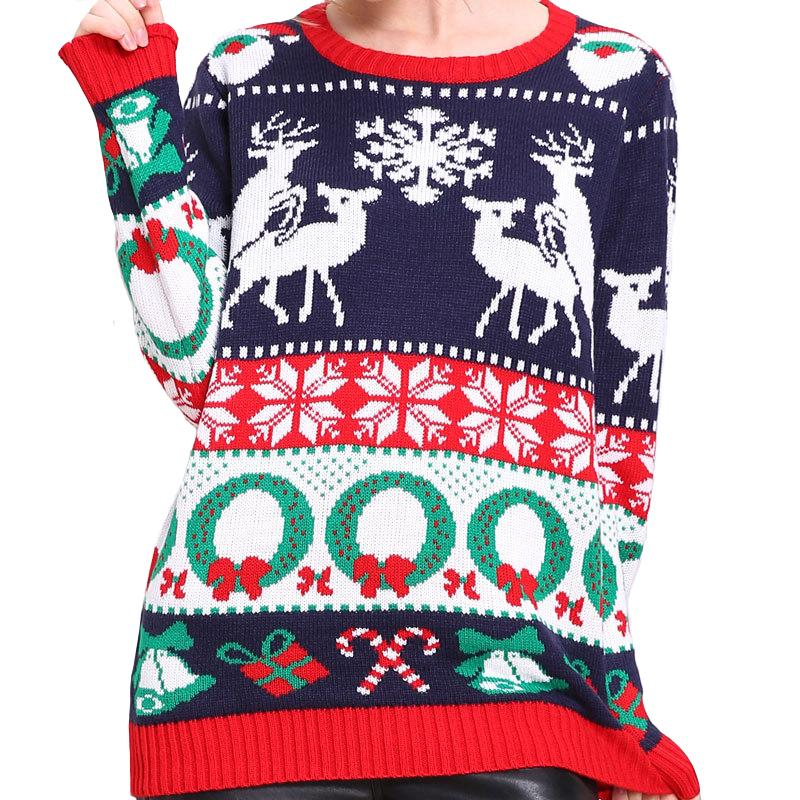 """Tacky Humping Reindeer"" Knitted Ugly Christmas Sweater for Women"