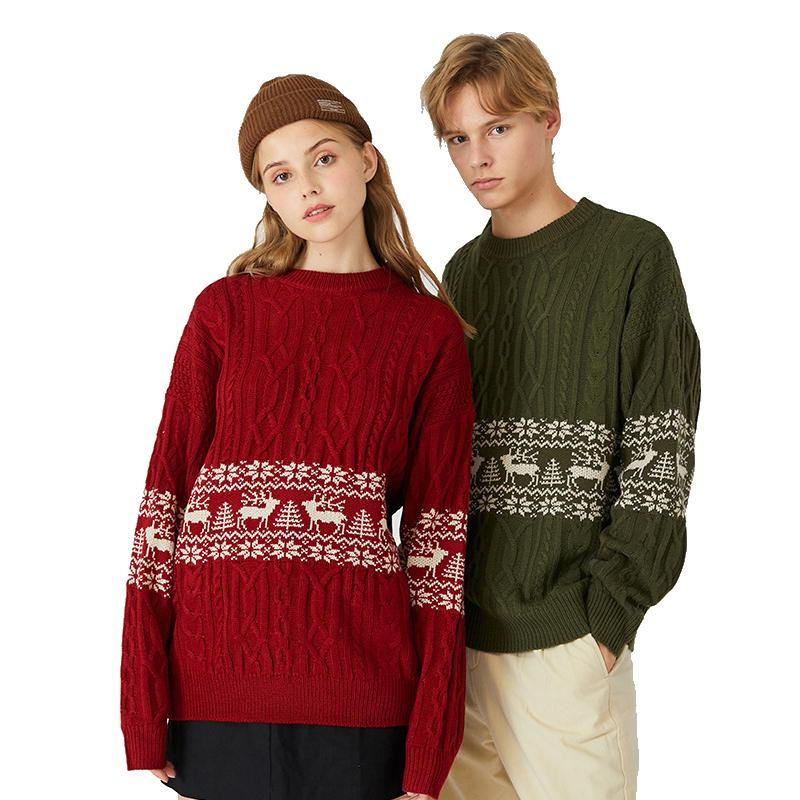 Cable Knit Reindeer Couples Christmas Sweaters for Lovers