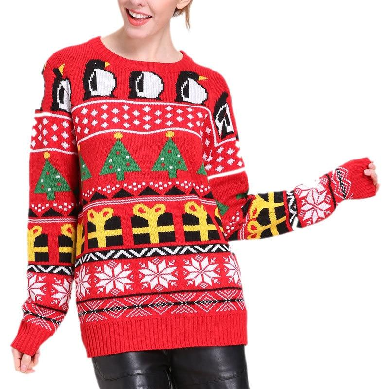 """Vintage Snowflake Penguin"" Knitted Ugly Christmas Sweater"