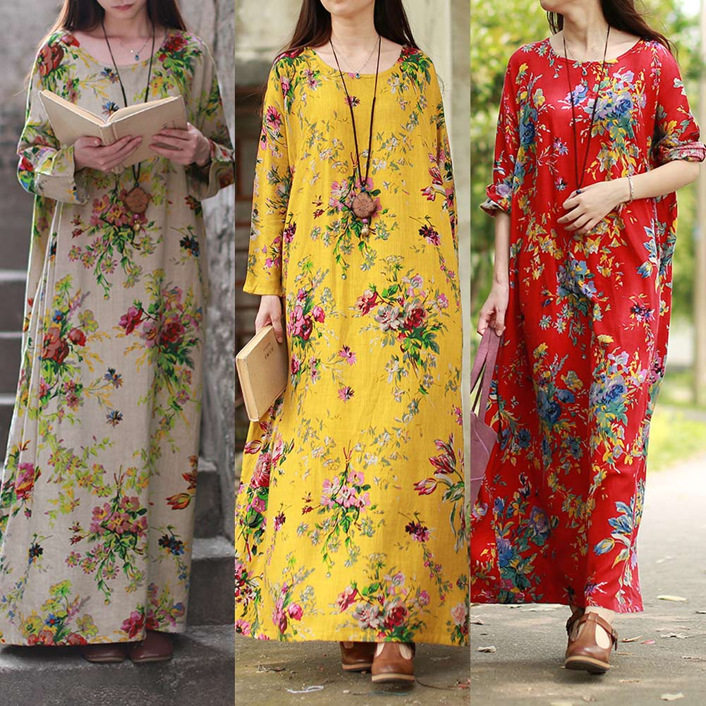 Dekorhea Women Floral Plus Size Long Sleeves Pockets O Neck Maxi Dress