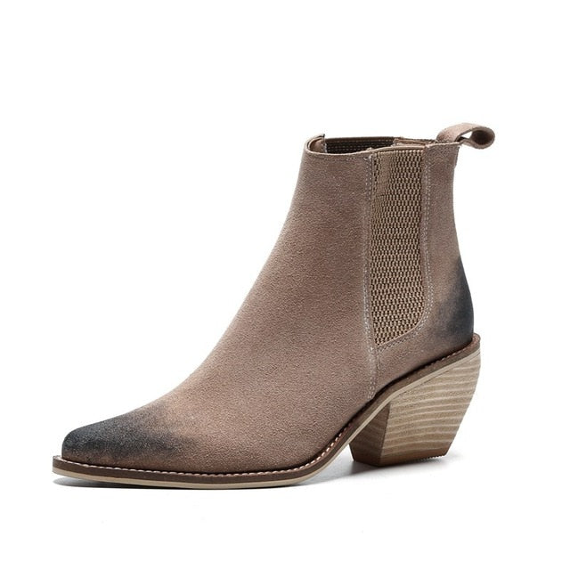 Dekorhea Genuine Leather Ankle boots for women High heel boots