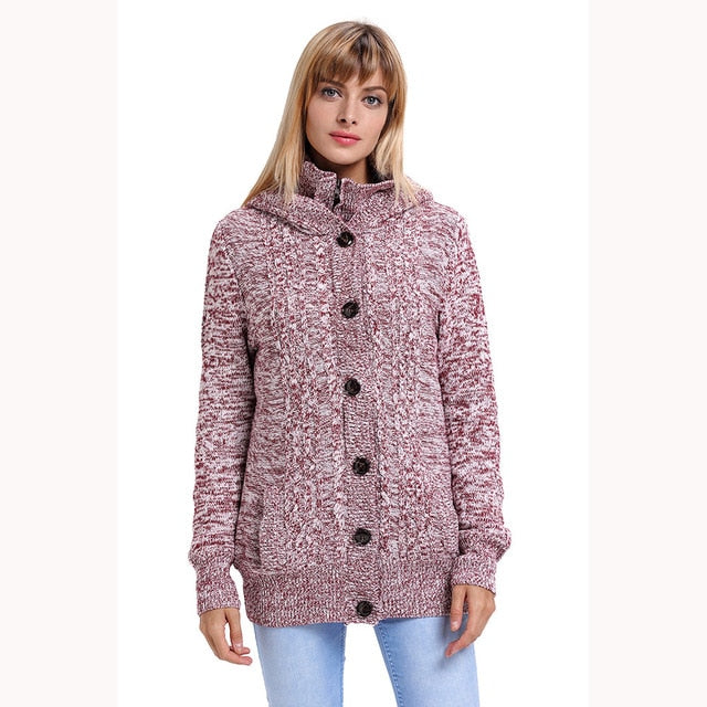 2018 Autumn lady's sweater Long Sleeve Knitted Open Front Cable Knit Button Down Outwear coat