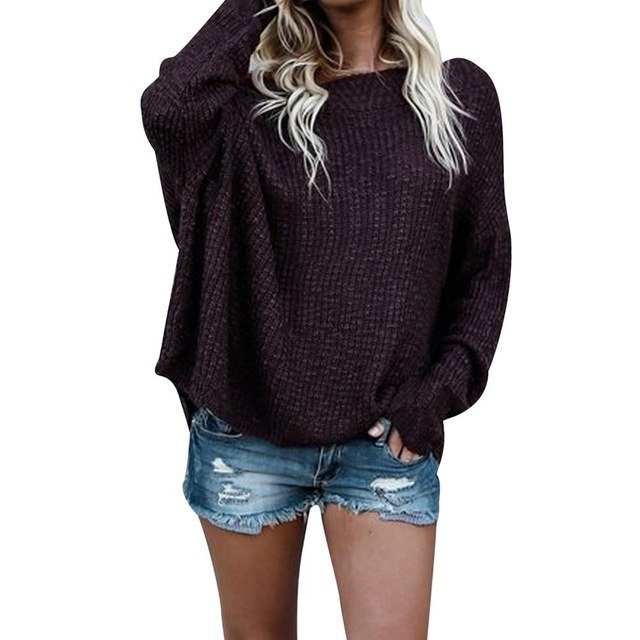 Autumn Off Shoulder Sweater Loose Oversize Batwing Sleeve Pullover Sweaters