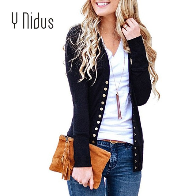 Women's Cardigan V-Neck Button Down Knitwear Long Sleeve Soft Sweater