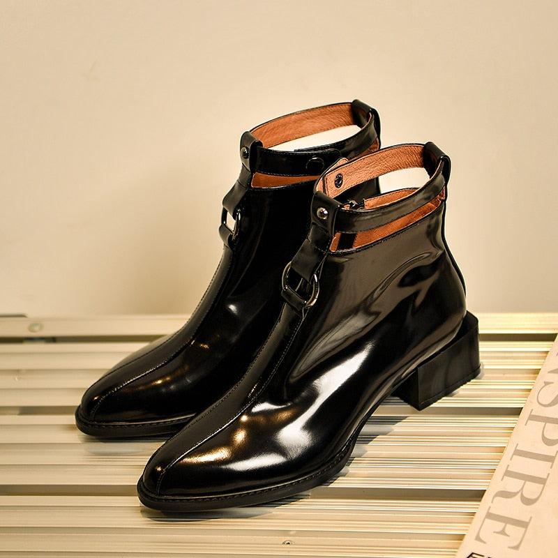 Women Patent Leather Med Heels Boots Pointed Toe Footwear Rivet Motorcycle Female Boot