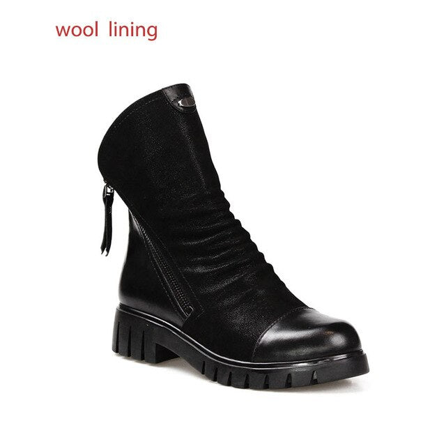 Genuine Leather Ankle Boots Zipper Real Fur Boots Woman Footwear Winter Boots