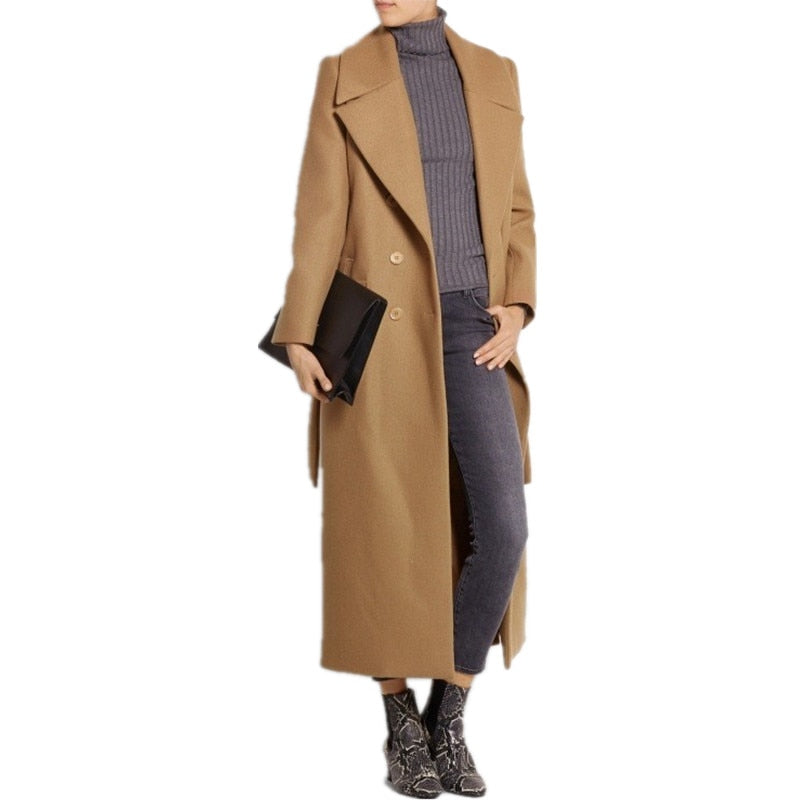 Women Plus size Autumn Winter Cassic Simple Wool Maxi Long Coat