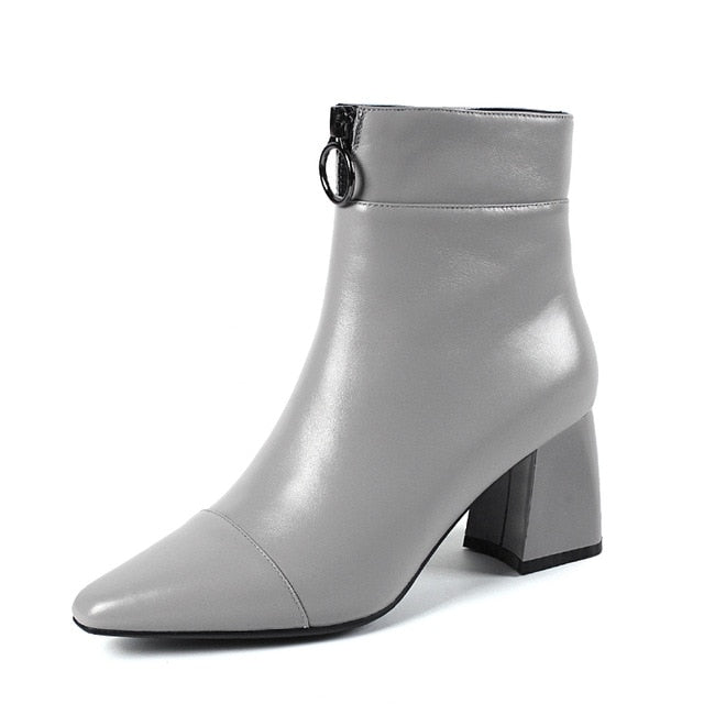 High Heels Women Ankle Boots Genuine Leather Female Boot