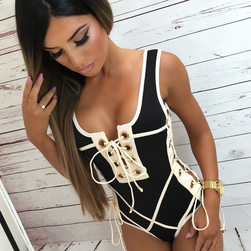 207292249b6da Dekorhea One Piece Swimsuit Women Swimwear Lace Up Bodysuit