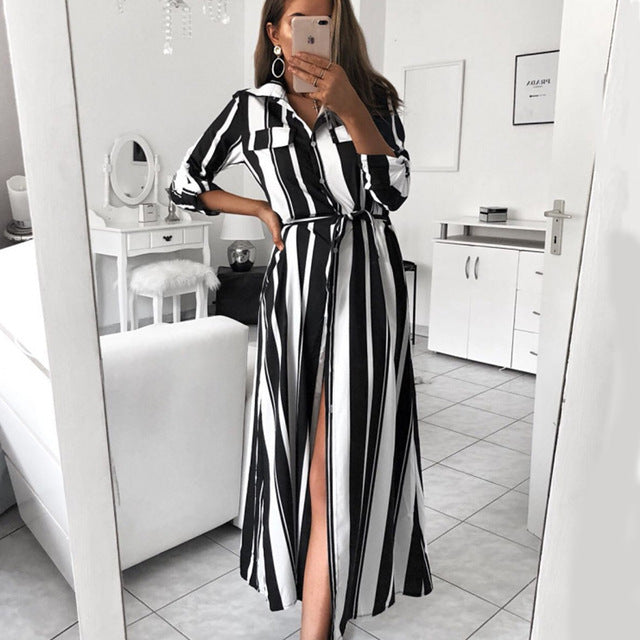 Dekorhea Office Lady Turn-Down Collar Button Lace Up Long Sleeve Stripe Maxi Dresses