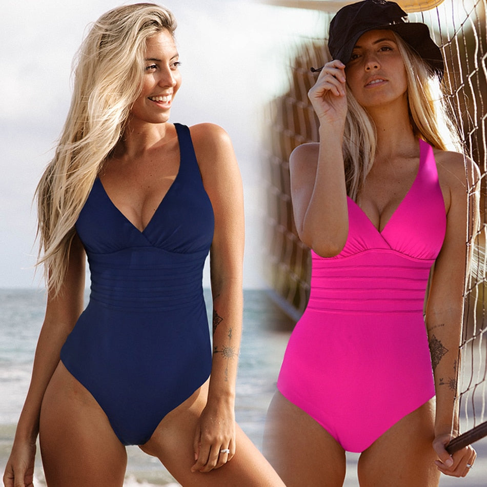 Dekorhea Vintage One Piece Swimsuit Women Swimwear Solid Monokini