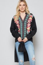 BLACK EMBROIDERED BOHEMIAN FLORAL CASUAL V-NECKLINE